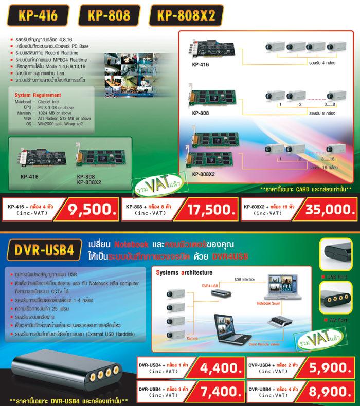 KENPROCCTV KP-416 KP-808 KP-808X2  DVR-USB4  กล้องวงจรปิดเคนโปร